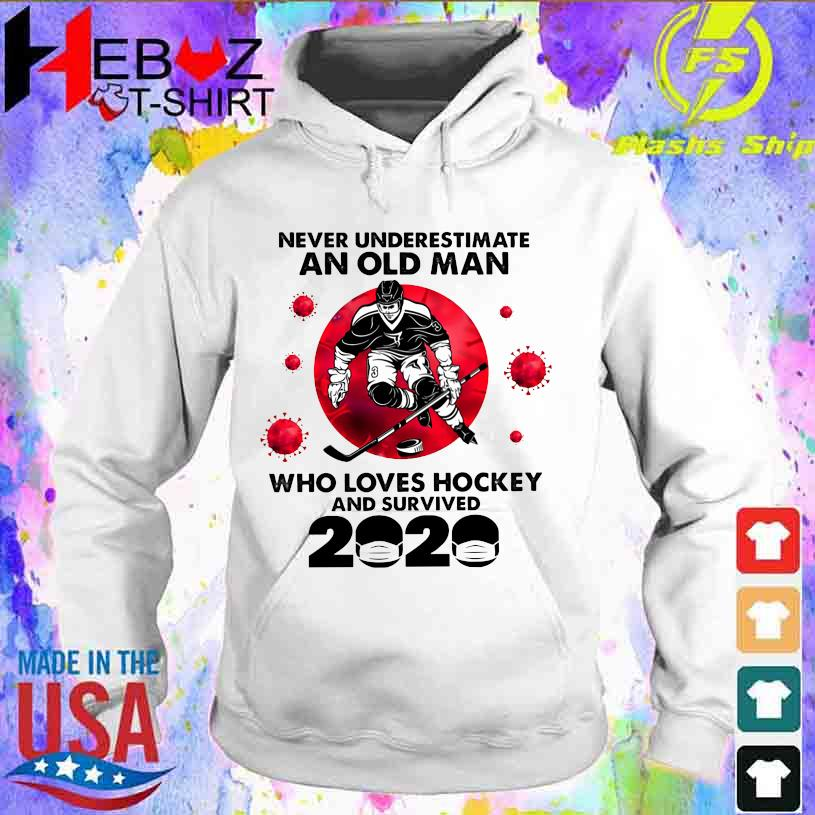 Official Corona Never underestimate an old Man who loves Hockey and survived 2020 hoodie